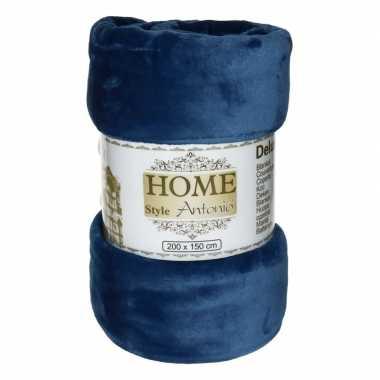 Flanellen plaid donkerblauw 150 x 200 cm
