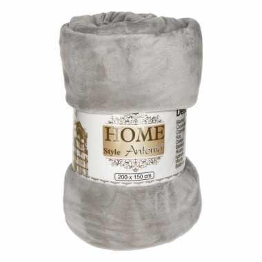 Flanellen plaid grijs 150 x 200 cm