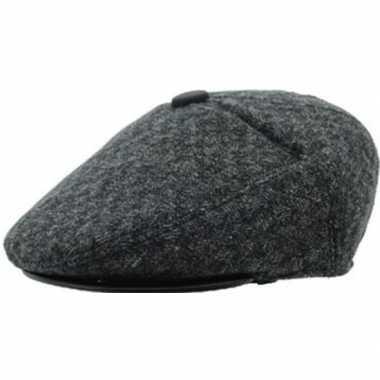 Flat cap donkergrijs acryl/katoen voor heren