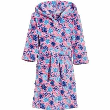 Fleece badjas bloem roze voor meiden