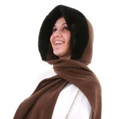 Fleece capuchon sjaal voor dames lichtbruin