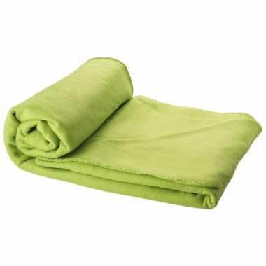 Fleece deken lime groen 150 x 120 cm