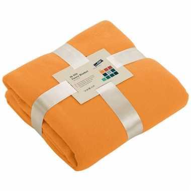 Fleece dekentje in oranje kleur