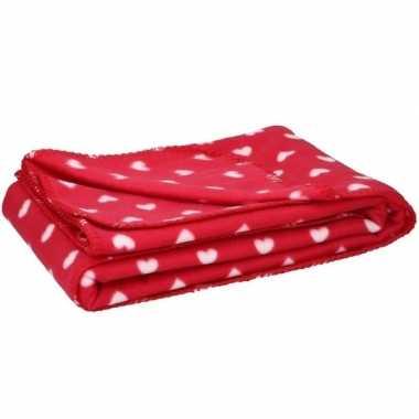 Fleece plaid deken met hartjes 120 x 160 cm