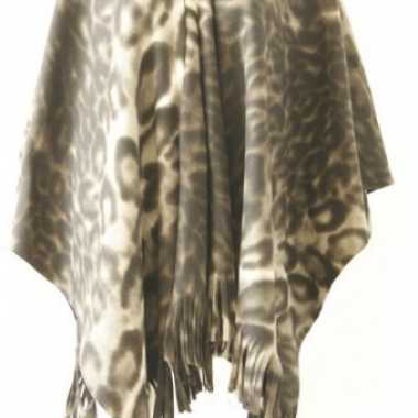 Fleece poncho panter print