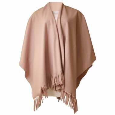 Fleece poncho roze