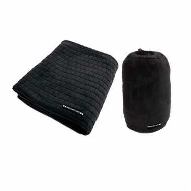 Fleecedeken met blokjespatroon zwart 125x150cm