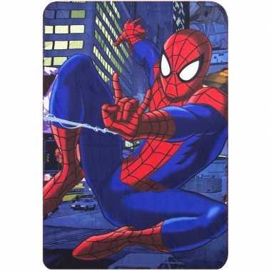 Fleecedeken spiderman marvel blauw voor jongens