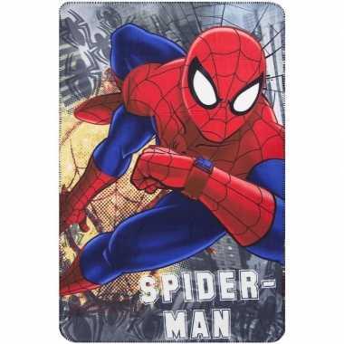 Fleecedeken spiderman marvel grijs voor jongens