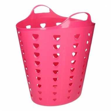 Flexibele roze mand met gaten 60 liter