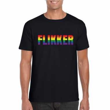 Flikker regenboog tekst shirt zwart heren