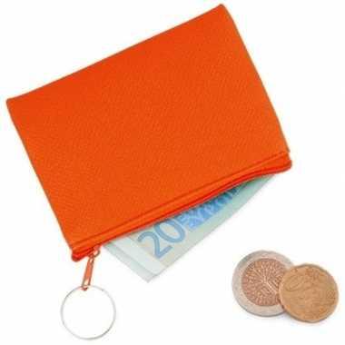 Fluor oranje portemonnee met sleutelhanger 10 x 7 cm