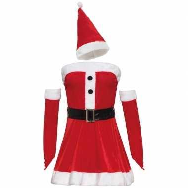 Fluwelen kerstvrouw jurkje voor dames