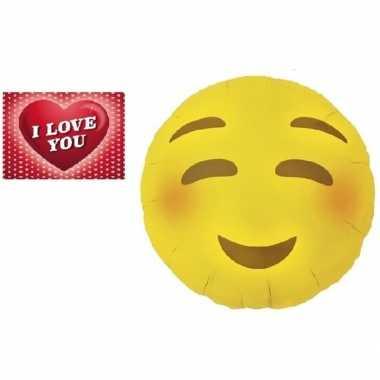 Folie ballon bloos emoticon 46 cm met valentijnskaart