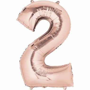 Folie ballon rosegoud cijfer 2