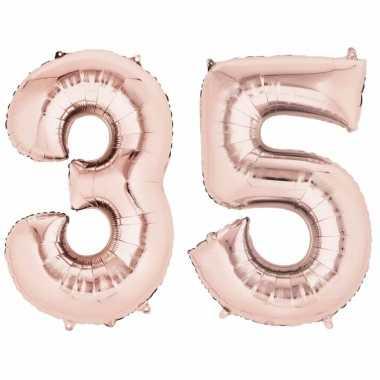 Folie ballon rosegoud cijfer 35