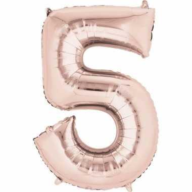 Folie ballon rosegoud cijfer 5