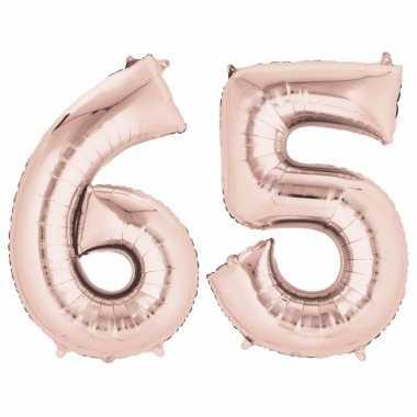 Folie ballon rosegoud cijfer 65