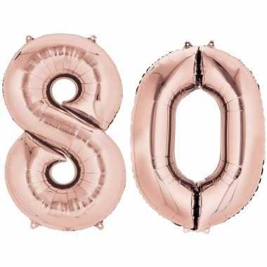 Folie ballon rosegoud cijfer 80