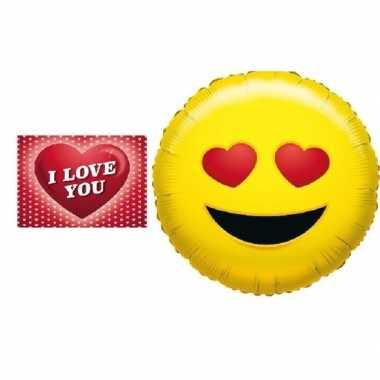 Folie ballon verliefde smiley 35 cm met valentijnskaart