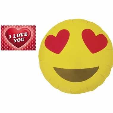 Folie ballon verliefde smiley 46 cm met valentijnskaart