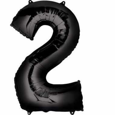Folie ballon zwart cijfer 2
