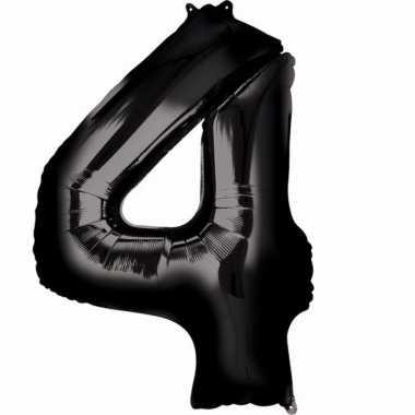 Folie ballon zwart cijfer 4