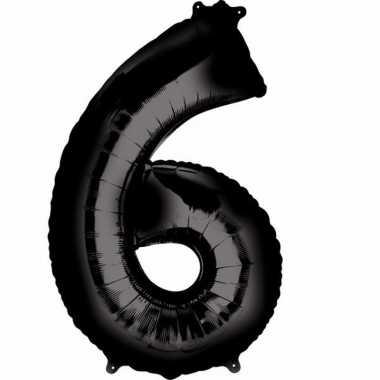 Folie ballon zwart cijfer 6