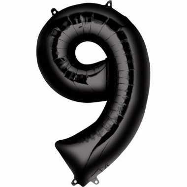 Folie ballon zwart cijfer 9