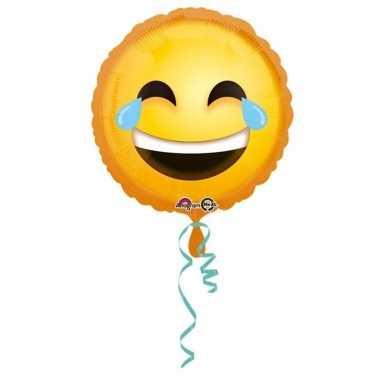 Folie ballonnen smiley huilen van het lachen 43 cm