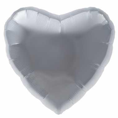 Folieballon zilver hart 45 cm