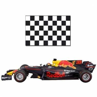 Formule 1 schaalmodel auto max verstappen 1:43 met finish vlag