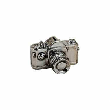 Foto camera spaarpot zilver 16 cm