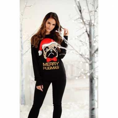 Foute kersttrui met mopshond voor dames