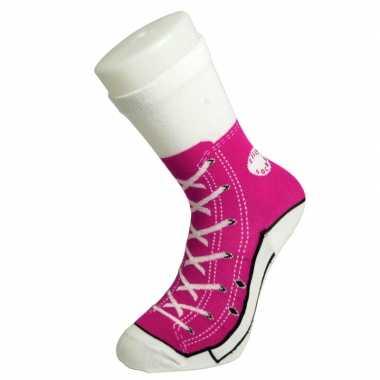 Foute sokken fuchsia roze sneaker print voor dames maat 35,5