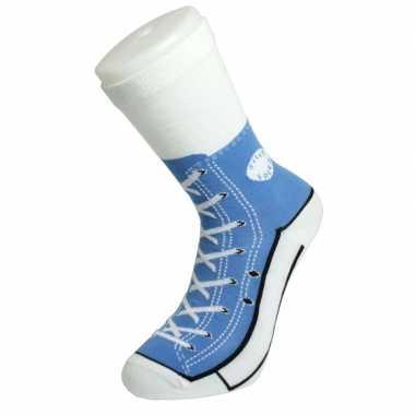 Foute sokken lichtblauwe sneaker print voor volwassenen maat 37-