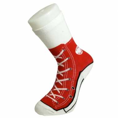 Foute sokken rode sneaker print voor volwassenen maat 37-45
