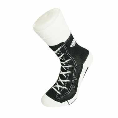 Foute sokken zwarte sneaker print voor volwassenen maat 37-45
