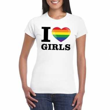 Gay pride shirt i love girls regenboog t-shirt wit dames