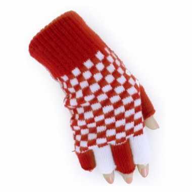 Geblokte handschoenen rood met wit