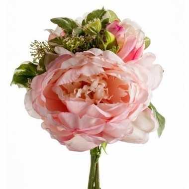 Gebonden boeket roze kunstbloemen 20 cm