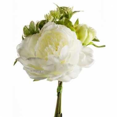 Gebonden boeket witte kunstbloemen 20 cm