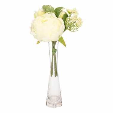 Gebonden boeket witte kunstbloemen inclusief smal glazen vaasje 20 cm