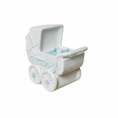 Geboorte jongen kado spaarpot kinderwagen