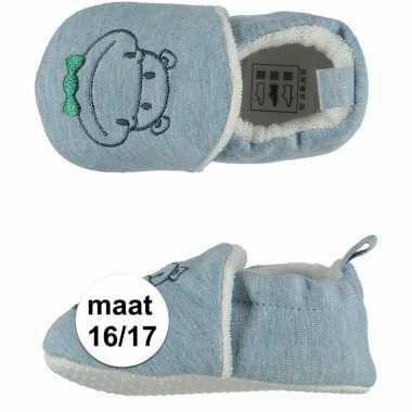 Geboorte kado jongetje baby slofjes met nijlpaard maat 16/17