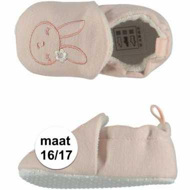 Geboorte kado meisjes baby slofjes met konijntje maat 16/17