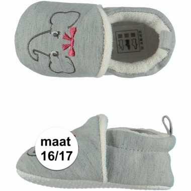 Geboorte kado meisjes baby slofjes met olifantje maat 16/17