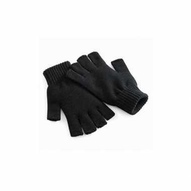 Gebreide dames handschoenen zwart vingerloze