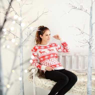 Gebreide dames wintertrui nordic rood/wit