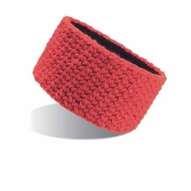 Gebreide hoofdband rood voor dames